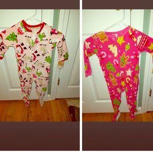 NWT Carter's 2t fleece onesie bundle girls SANTA